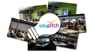 Collage of edupitch logo and photos.