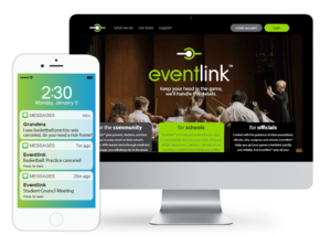 Phone and desktop mock-up with Eventlink app.
