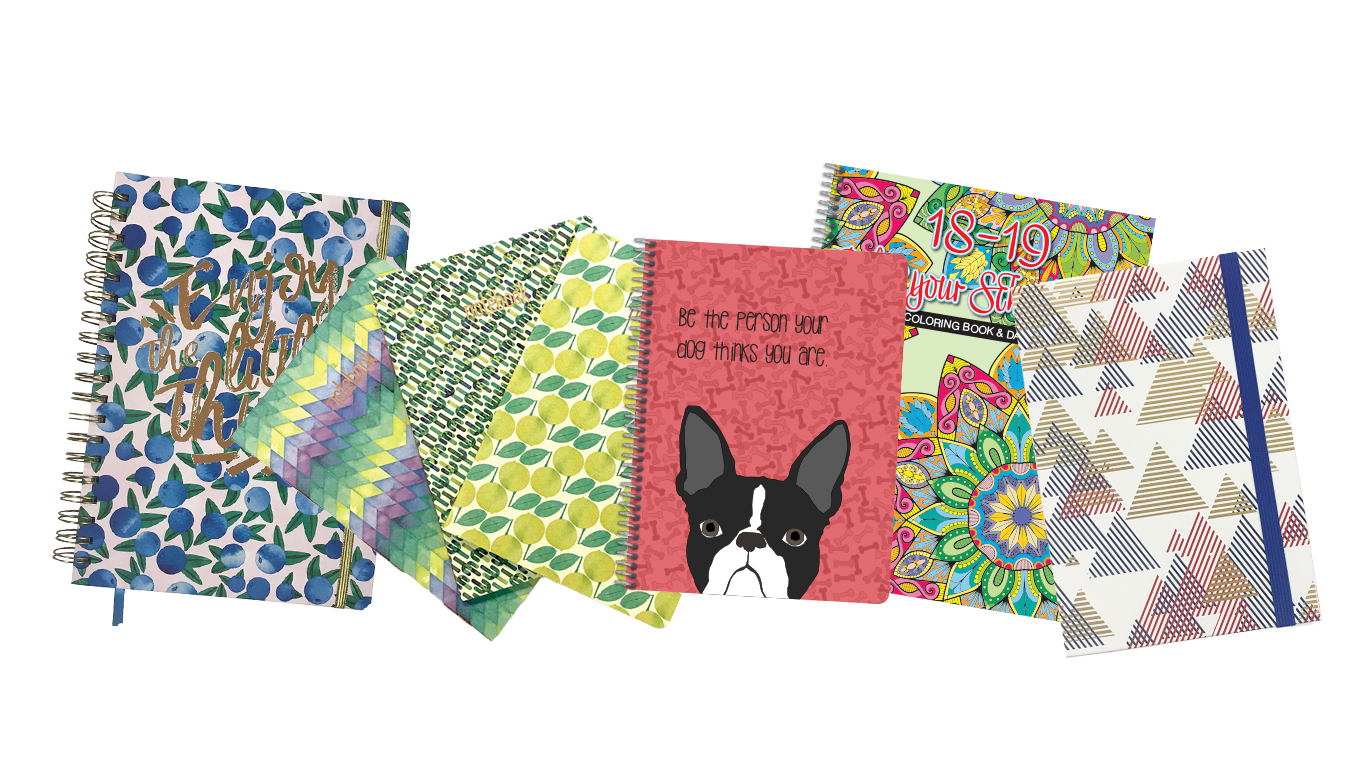 Various planners, notebooks, and journals on transparent background.